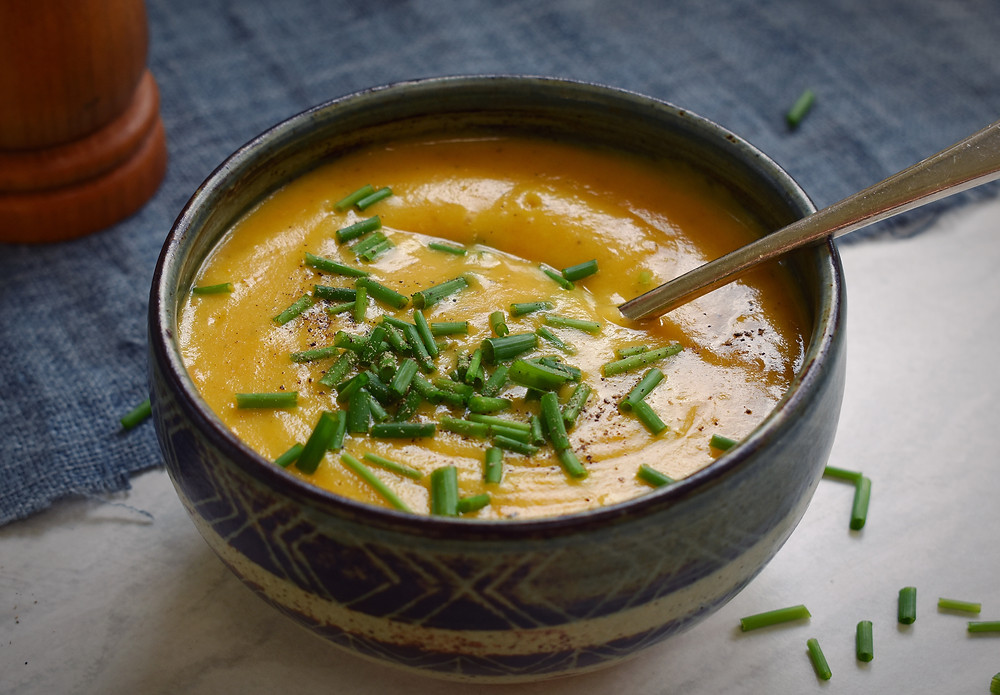 Parsnip and carrot soup from Jo Stepaniak's book, Low FODMAP vegan