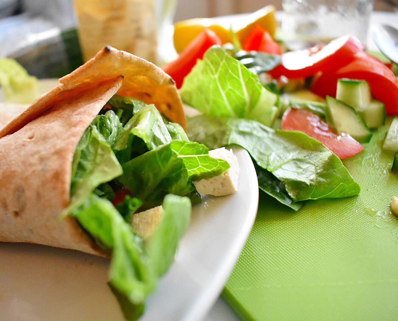 """Tofu """"Feta"""" Salad Wrap"""