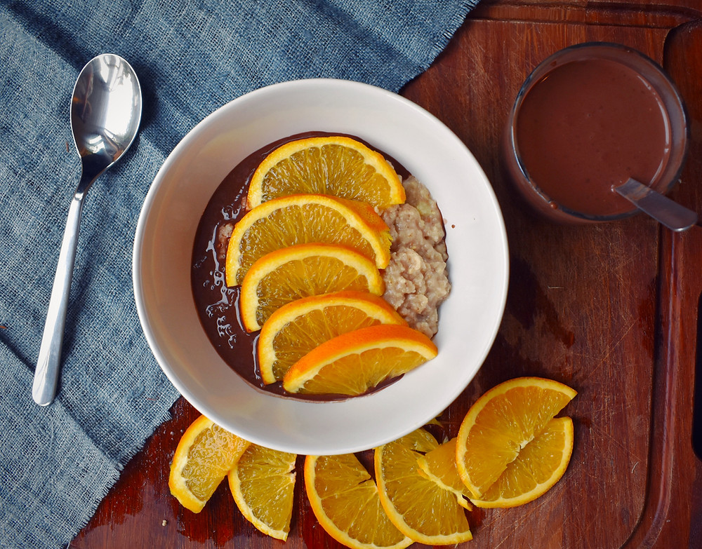 Orange and Chocolate Chia Sauce Porridge
