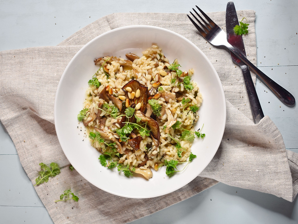 low FODMAP Vegan Mushroom Risotto recipe Gluten free