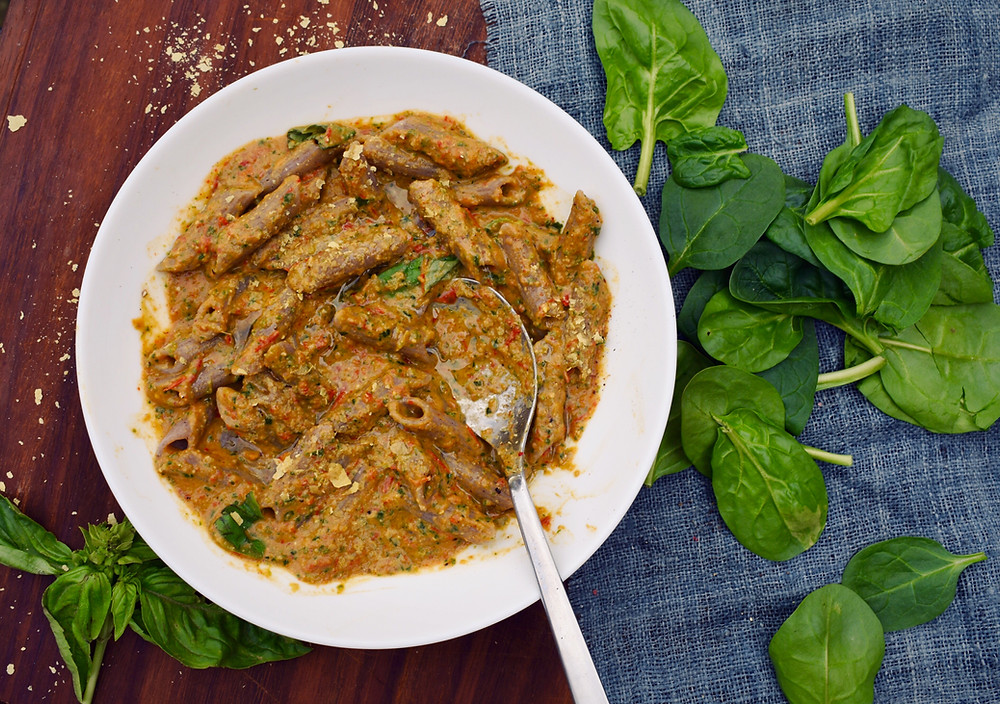 Low fodmap vegan pasta sauce with added protein