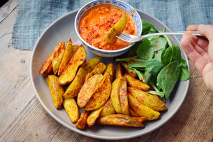 Smokey Red Pepper & Chickpea Dip With Potato Wedges