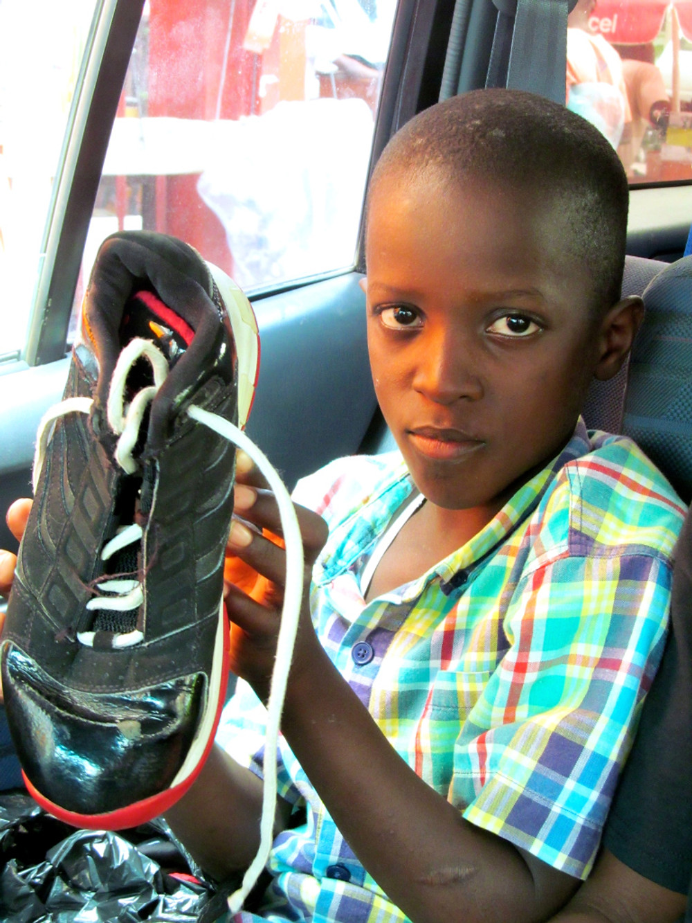 Wenshel displays his new shoes!