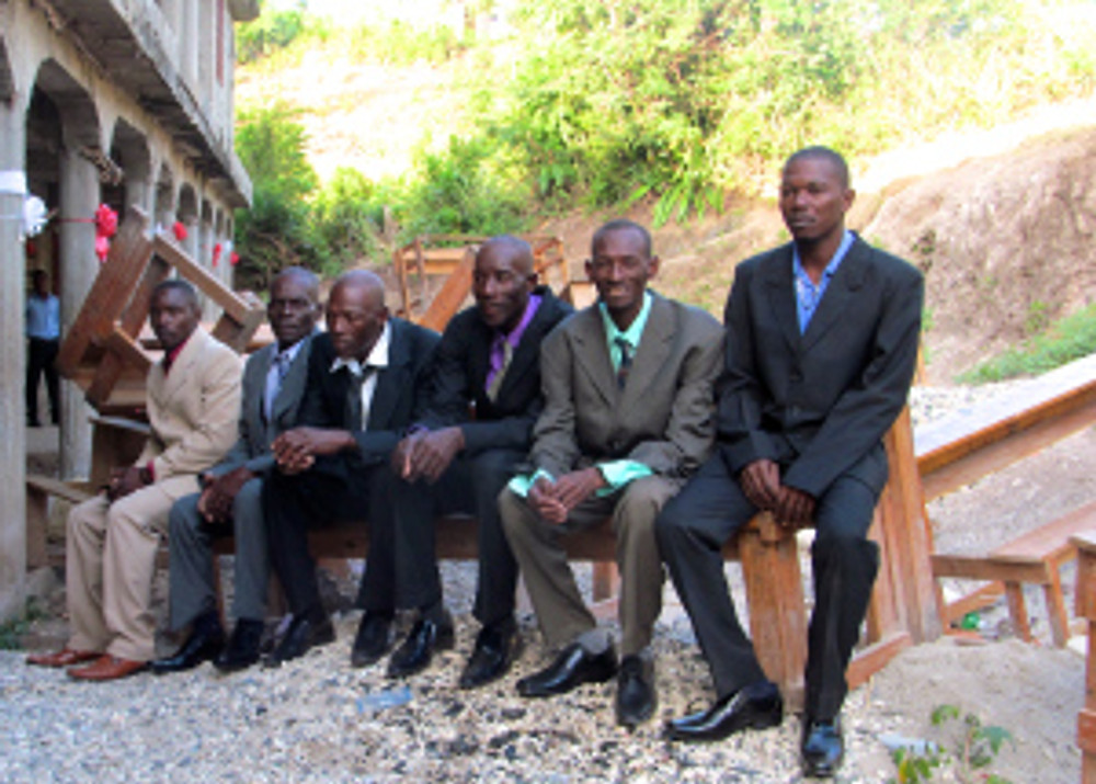 The grooms waiting for their brides!