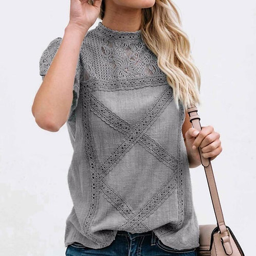 Summer Short Sleeve Round Neck Casual Shirt