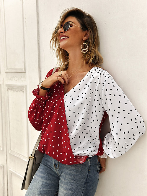 Patchwork Polka Dot Long Sleeve Casual Shirt