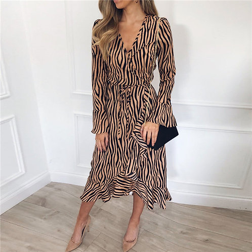 Zebra Print Chiffon Dress