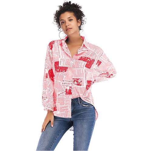 Newspaper Print Long Sleeve Blouse Shirt