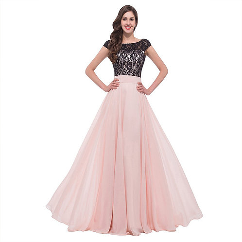 Boat Neck Sleeveless Evening Long Dress