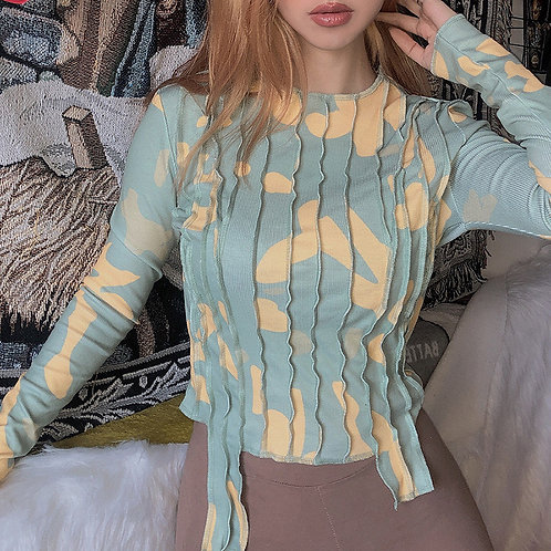 O Neck Long Sleeve Blouse