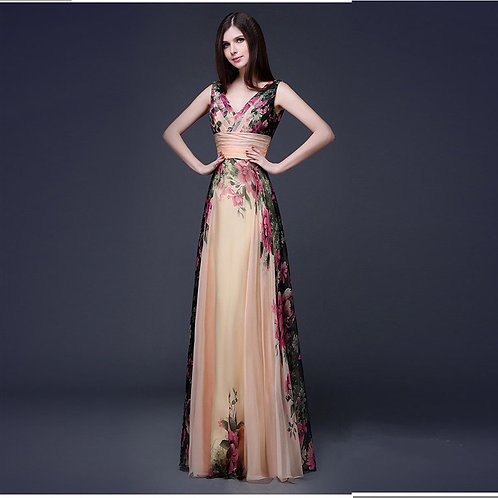 V-Neck Summer Floral Chiffon Party Evening Maxi Long Dress