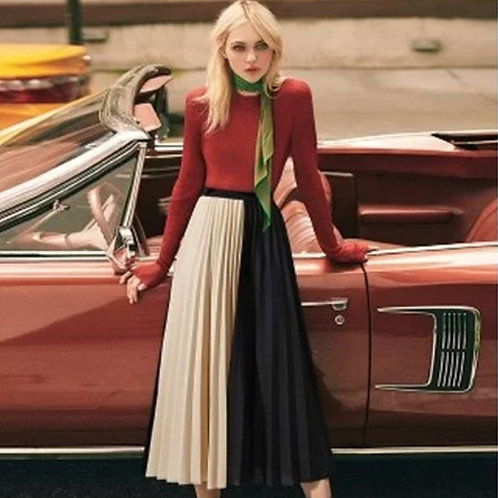 Stylish Contrasting  Pleated Midi Skirt
