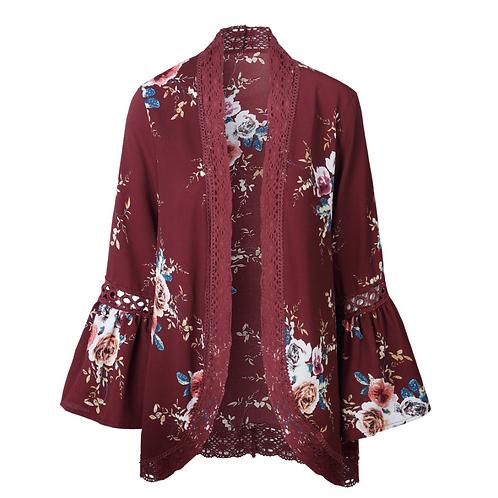 Floral Print Loose Puff Sleeve Kimono