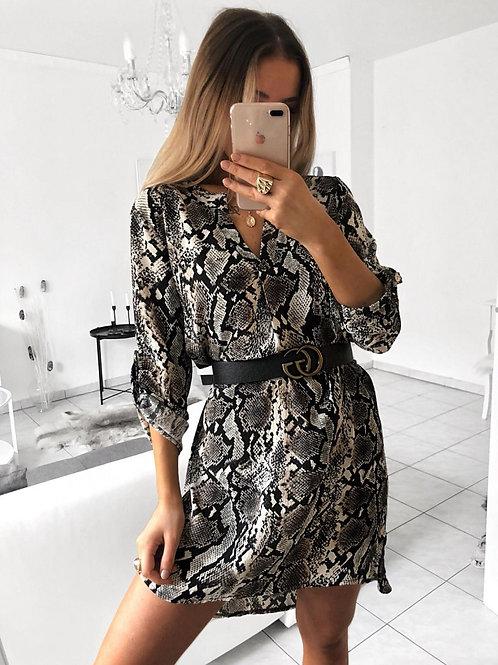 V-Neck Long Sleeve Dress -  Snake Skin Print