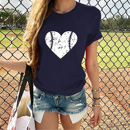 Heart Design Baseball T-shirt