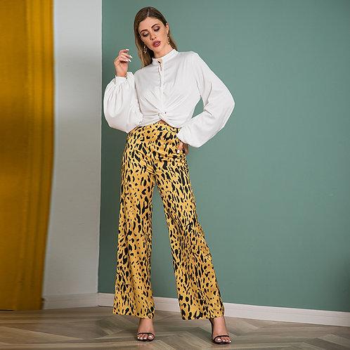 Wide Leg Casual Satin Leopard Pants