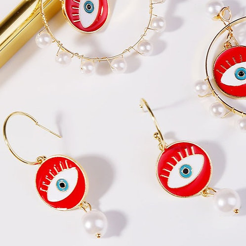 Round Single Pearl Dangling Earring
