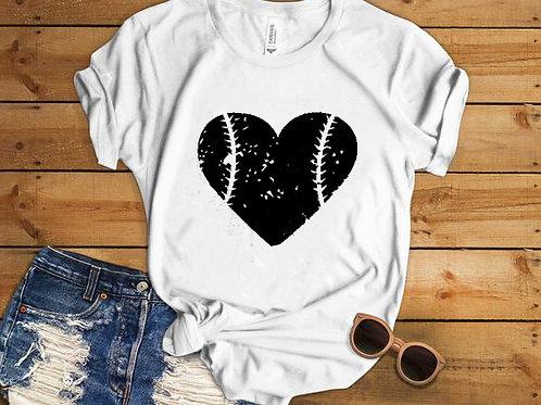 Heart Design Baseball T-shirt
