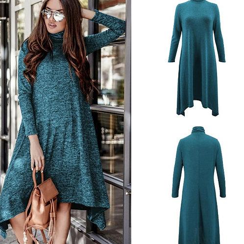 Turtleneck Long Sleeve Casual Dress