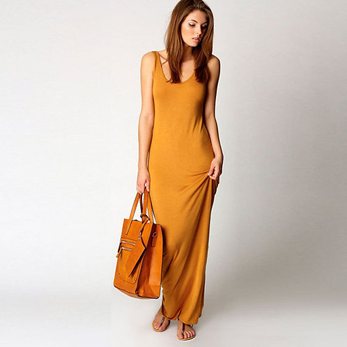Slim Strap Solid Color Long Dress