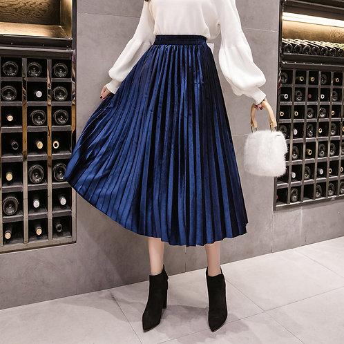 High Waist Velvet Skirt