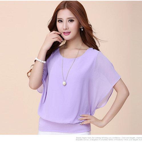 Chiffon Casual Short Sleeve Blouse - Lavender