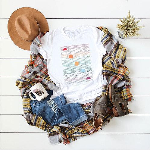 New Sun Mountain Print T Shirt