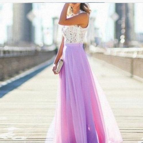Lace Patchwork Chiffon Dress