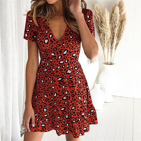 Short V neck Casual Dress