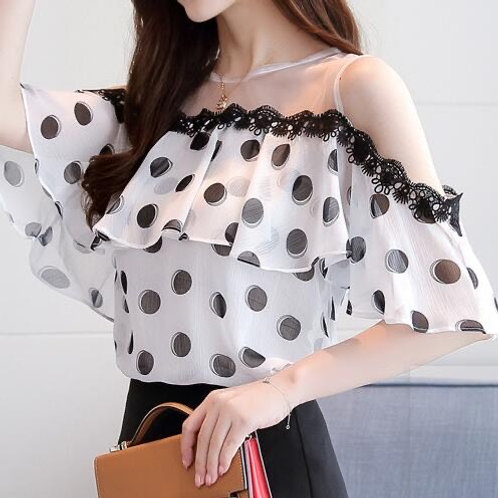 Wave Point Chiffon Blouse