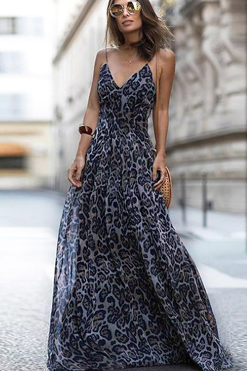 Leopard V Neck Spaghetti Strap Maxi dress