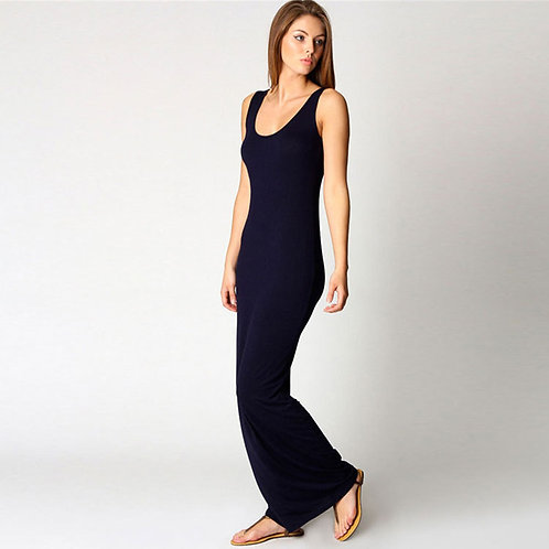 Slim Strap Solid Color Long Dress