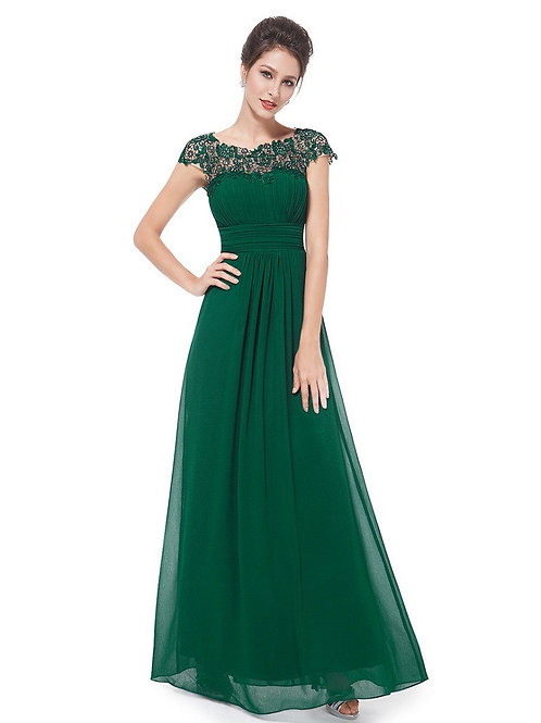 Lace Neckline Ruched Floor-Length Dress
