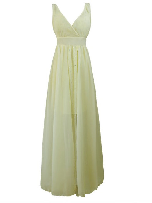 V Neck Backless Maxi Evening Dinner Dress