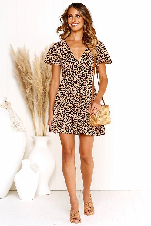 Short V neck Casual Dress