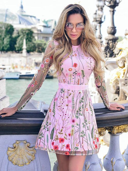 Floral Embroidery Dress Sheer Mesh Summer Boho Mini A-line Dress
