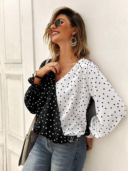 Patchwork Polka Dot Long Sleeve Casual Shirt