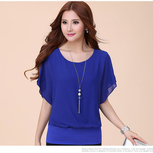 Chiffon Casual Short Sleeve Blouse - Blue