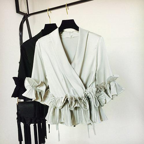 Ruffle Satin Kimono