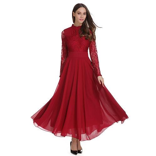 Net Bodice Long Sleeve Chiffon Maxi Dress