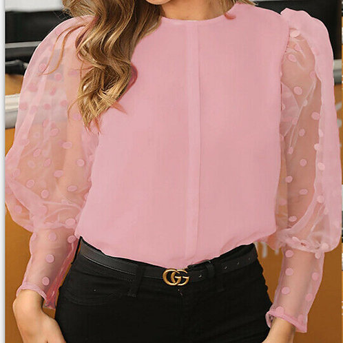Chiffon Long Sleeve Puff Blouse