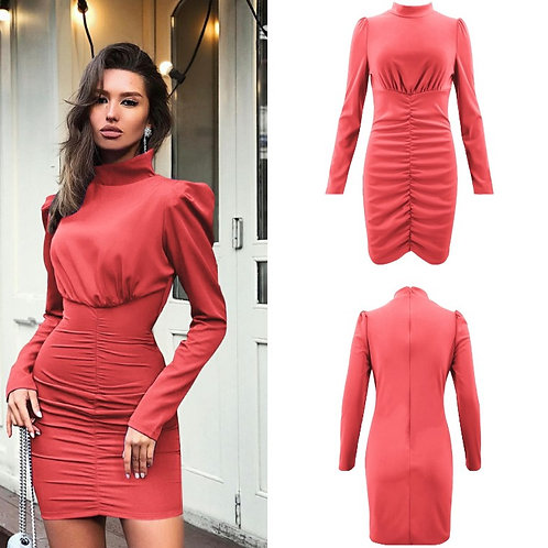 Turtleneck Long Sleeve Slim Dress