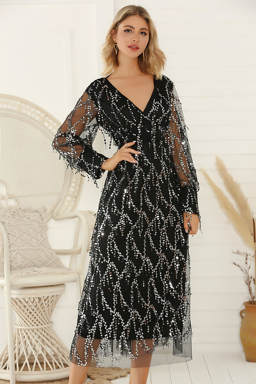 Fringe Long Sleeve Party Maxi Sequin