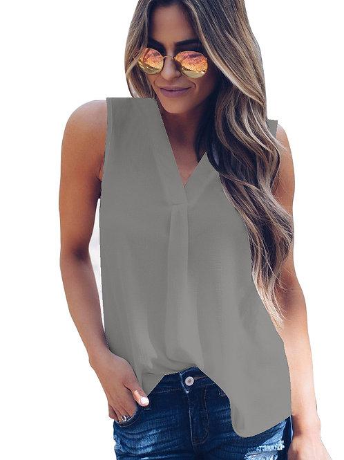 Summer Sleeveless Solid V neck Blouse