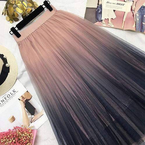 Long Tulle Tie Dye Skirt