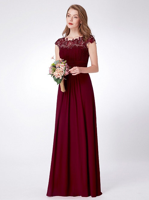 Lace Neckline Ruched Floor-Length Ruched Bust Evening Dress