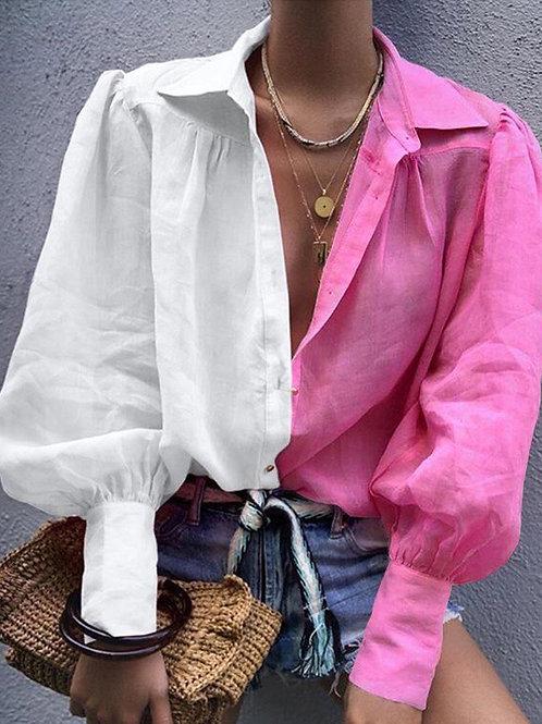 Half pink/white Blouse