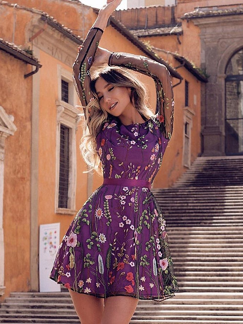 Floral Embroidery Dress Sheer Mesh Summer Boho Mini A-line Dress