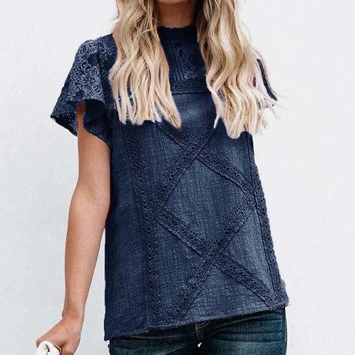 Summer Short Sleeve Round Neck Casual Shirt