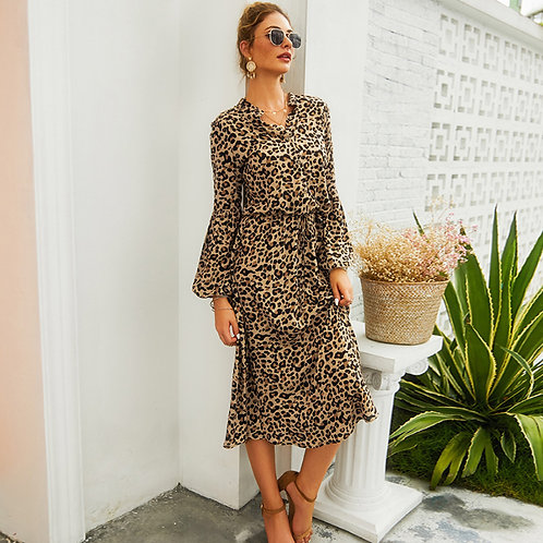Leopard Print Casual Dress